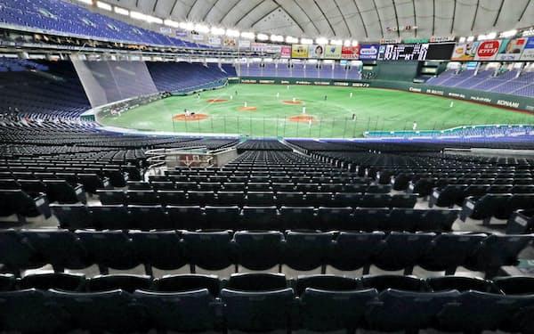 プロ野球はオープン戦を全て無観客で行っている(2月29日、東京ドーム)