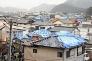 屋根を覆うブルーシートが今も目立つ千葉県鋸南町の勝山地区、8日午後)=共同