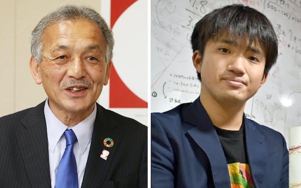 2020年ドバイ国際博覧会日本政府代表の中村富安さん(写真左)と大阪大医学部の田辺翼さん