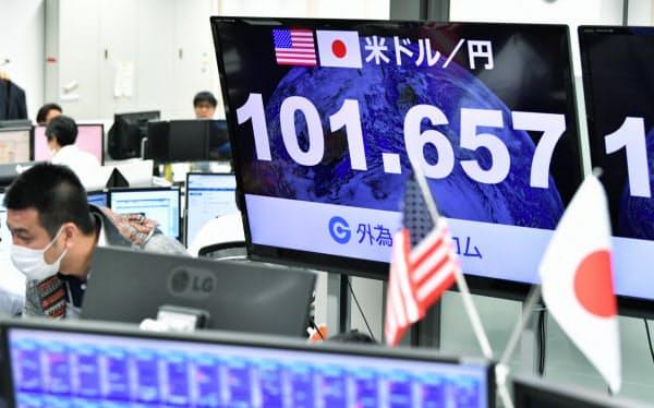 1ドル=101円台で推移する外為市場(9日午前、東京都港区の外為どっとコム)
