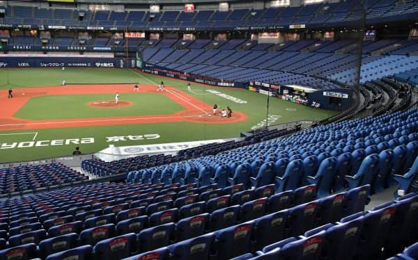 無観客で行われたプロ野球のオープン戦(4日、京セラドーム)