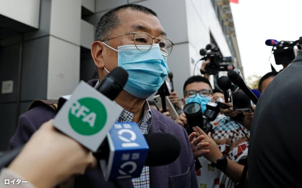 黎智英氏は昨年8月に違法集会に参加した容疑で逮捕された=ロイター