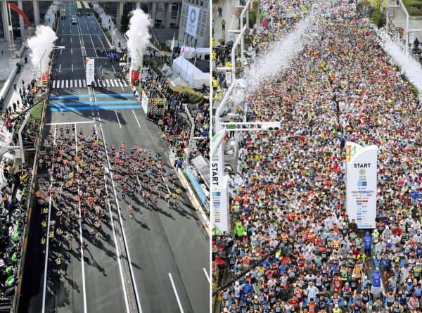 東京マラソンで都庁前を一斉にスタートするエリート選手たち(左)。一般ランナーも参加した昨年(右)から大幅に減少した(代表撮影)=共同