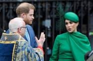 英連邦の日の式典に参加したヘンリー王子とメーガン妃(9日、ロンドン)=ロイター