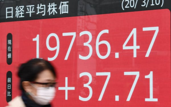 後場に入り上昇に転じた日経平均株価(10日、東京都中央区)