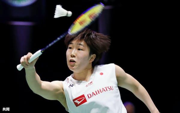 女子シングルス2回戦 高橋沙也加と対戦する山口茜(12日、バーミンガム)=共同