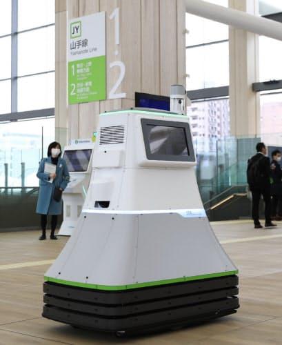 順次稼働させる、観光客などの案内をする移動式ロボット(9日の内覧会)