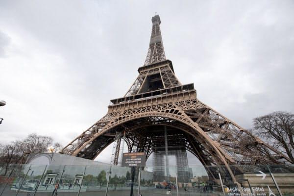 フランスはパリのエッフェル塔を無期限で閉鎖した=AP