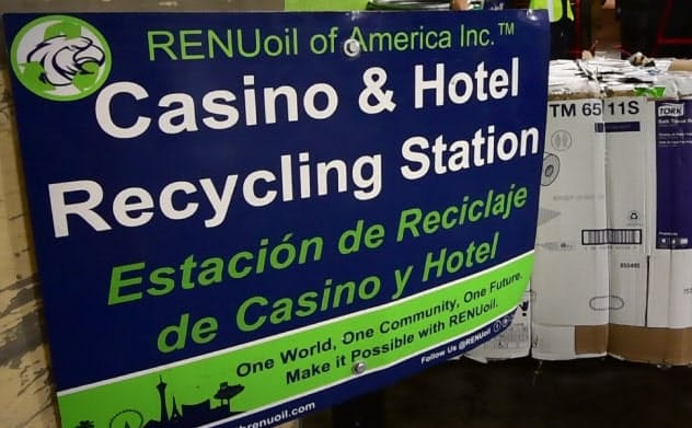 リヌオイルオブアメリカは米MGMのリサイクル業を請け負う(2019年12月、米ラスベガス)=目良友樹撮影