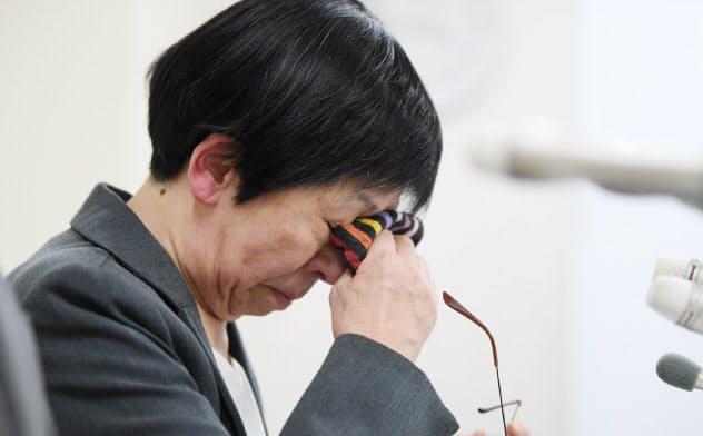 植松元被告に死刑判決が言い渡され、記者会見する津久井やまゆり園の入倉園長(3月16日、横浜市中区)