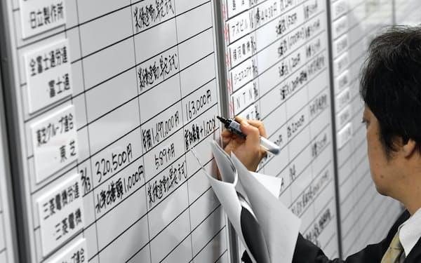 労使交渉の回答状況をボードに書き込む金属労協の職員(13日、東京都中央区)