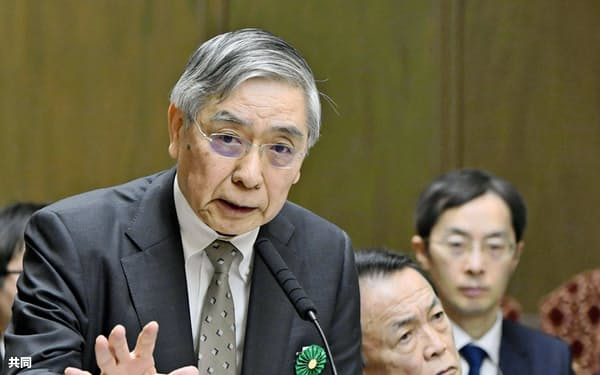 参院財政金融委で答弁する日銀の黒田総裁=18日午前
