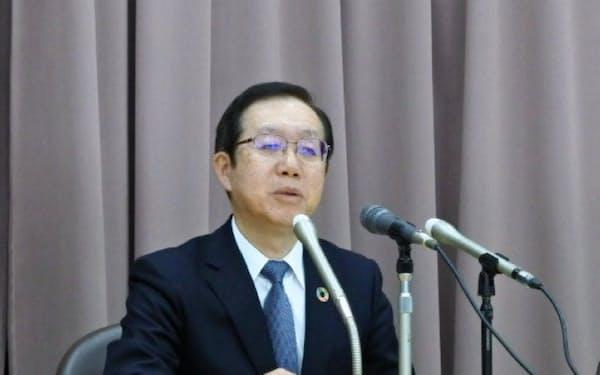 笹島地銀協会長会見(18日、東京・千代田)