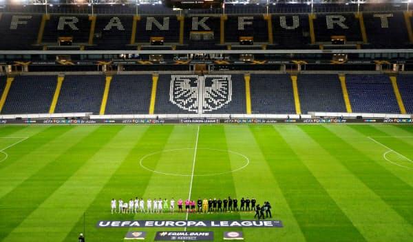 ドイツで開催された欧州リーグの無観客試合(3月12日)=ロイター