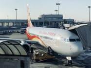 中国の海南航空も北京着の一部路線は周辺の空港を経由することになった(1月、北京市)
