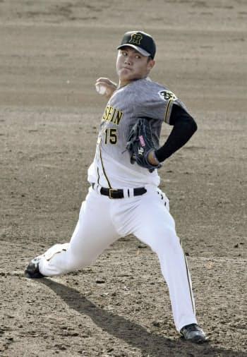 2軍練習試合のオリックス戦に登板した阪神・西純矢(19日、オセアンバファローズスタジアム舞洲)=共同