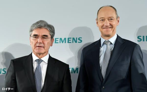 シーメンスはジョー・ケーザー社長(左)からローランド・ブッシュ副CEO(右)への社長交代を決めた=ロイター