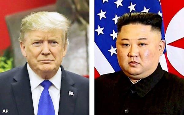 トランプ米大統領と北朝鮮の金正恩委員長=AP・共同