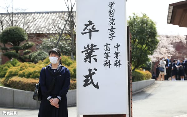 学習院女子高等科の卒業式前に感想を述べるマスク姿の愛子さま(22日、東京都新宿区)=代表撮影・共同