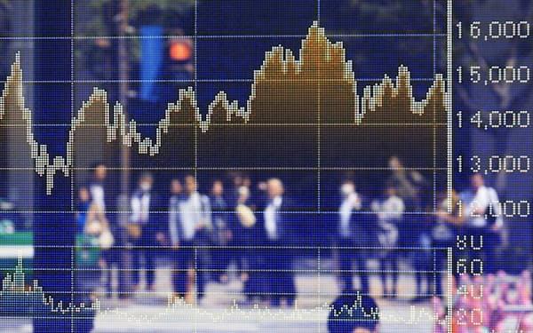 株価ボード(東京・八重洲)
