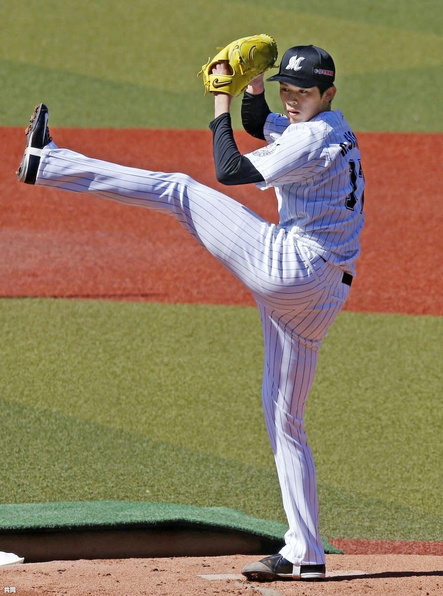 ロッテ佐々木朗、最速157キロをマーク 初めて打者に投球: 日本経済新聞