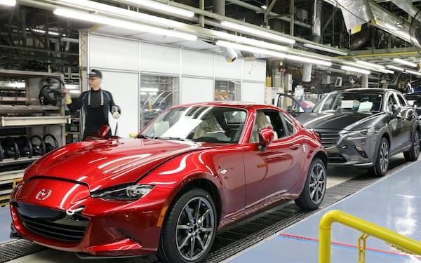 マツダは広島市の本社工場など国内全工場を一時休止する