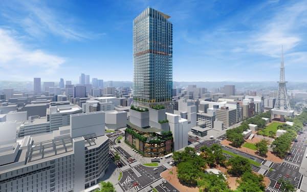 36階建て高層ビルのイメージ図(名古屋市提供)