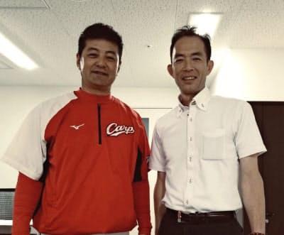 前広島監督の緒方孝市氏(左)や元阪神の関本賢太郎氏の活動をサポートする