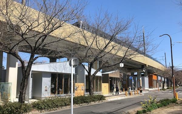 名古屋鉄道は高架下に商店街をオープンする(25日、名鉄瀬戸線の清水駅)