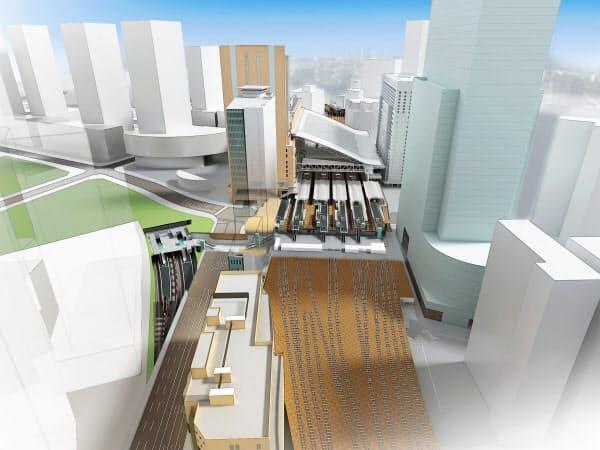 新駅(左)は現在の大阪駅と地下通路でつながる