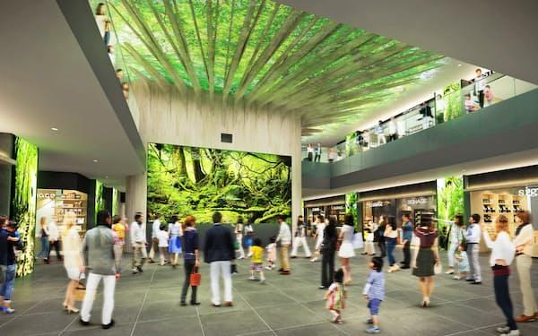 商業ゾーン「よかど鹿児島」ではプロジェクションマッピングで大樹が季節ごとに装いを変える(イメージ)