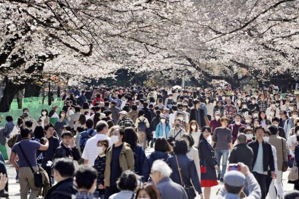 先週末の東京・上野公園は桜を楽しむ花見客でにぎわった(21日)=共同