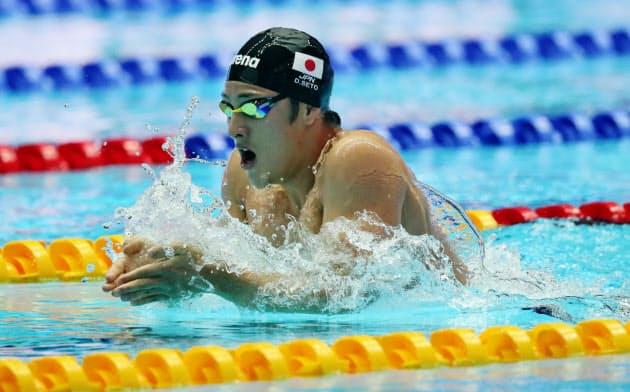 世界選手権男子400メートル個人メドレー予選で力泳する瀬戸(2019年7月28日、韓国・光州)=共同