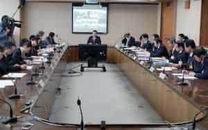 特別措置法に基づき設置した対策本部が初回の会合を開いた(27日、長野県庁)