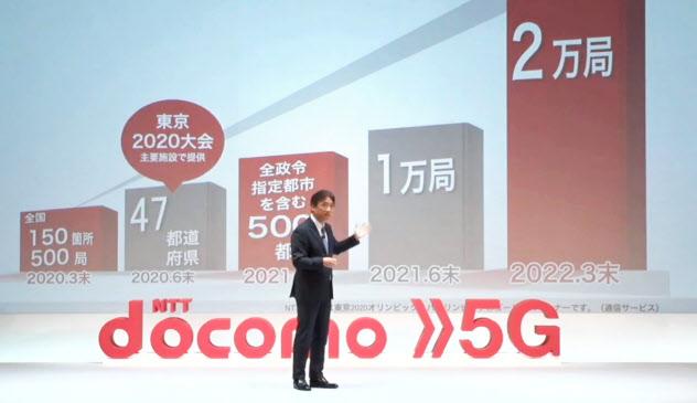 5Gサービスの利用開始を発表したNTTドコモの吉沢社長(3月18日)