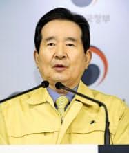 韓国丁世均首相は日本からの入国制限が長期化する可能性を示した(聯合=共同)