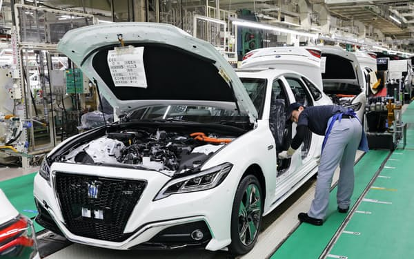 トヨタ自動車の製造ライン(愛知県豊田市)