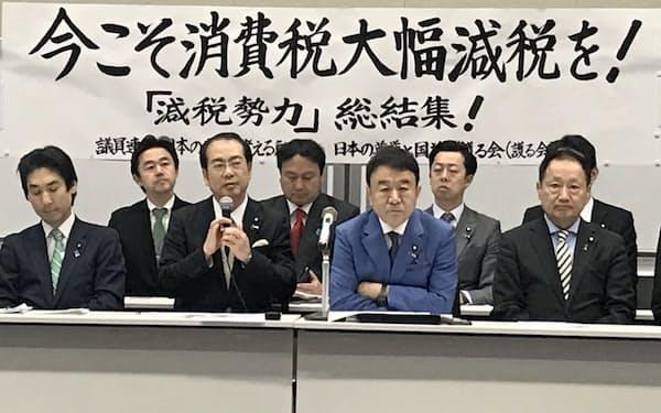 消費税減税を求める自民党の若手議員(30日、国会内)