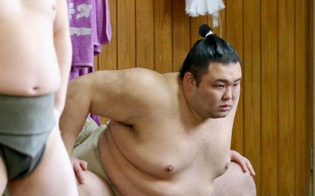 稽古を再開した新大関朝乃山(30日、東京都墨田区の高砂部屋)=代表撮影・共同