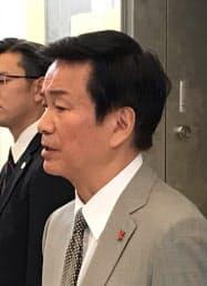 千葉県の森田健作知事は平日夜の東京都内への移動自粛を呼びかけた(30日、千葉県庁)