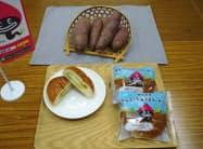 神戸屋が売り出す地元特産のうなぎいも(写真上)を使ったパン