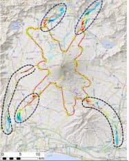 5つの火口で小規模噴火した場合の溶岩流の6日間での到達可能性範囲。各火口の噴火は同時発生するものではない