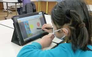 すららネットは休校に対応し教材の無償提供を実施した(鳥取市立湖南学園)