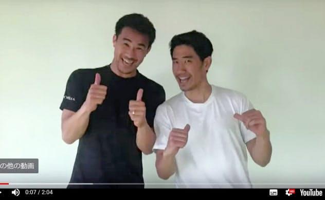 日本サッカー協会のユーチューブ公式チャンネル「JFATV」にアップされた岡崎(左)と香川が登場する動画の一場面(C)JFA=共同