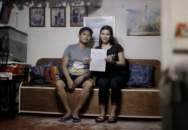 レジー・アーナンさん(32)は夫とともに特定技能資格での来日を目指す。いまは夫婦別々で暮らしているが、一緒に住める家を建てたいという(2月、マニラ)