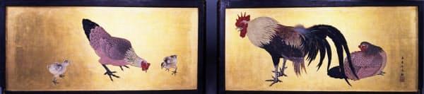 「けらば板 金地著彩鶏鴉図」(今尾景年筆)