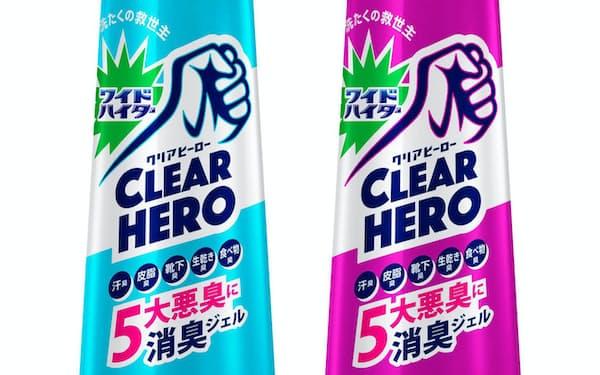 花王が発売する「ワイドハイター クリアヒーロー 消臭ジェル」。香りは2種類用意した