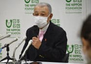 記者会見する日本財団の笹川陽平会長(3日、東京都品川区)