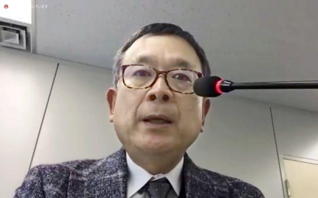 「新型コロナウイルス対策連絡会議」の第5回会議を終え、ウェブ上で記者会見するJリーグの村井満チェアマン(3日午前、東京都内)=共同