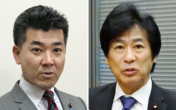 インタビューに答える自民党の田村憲久政調会長代理(写真右)と国民民主党の泉健太政調会長